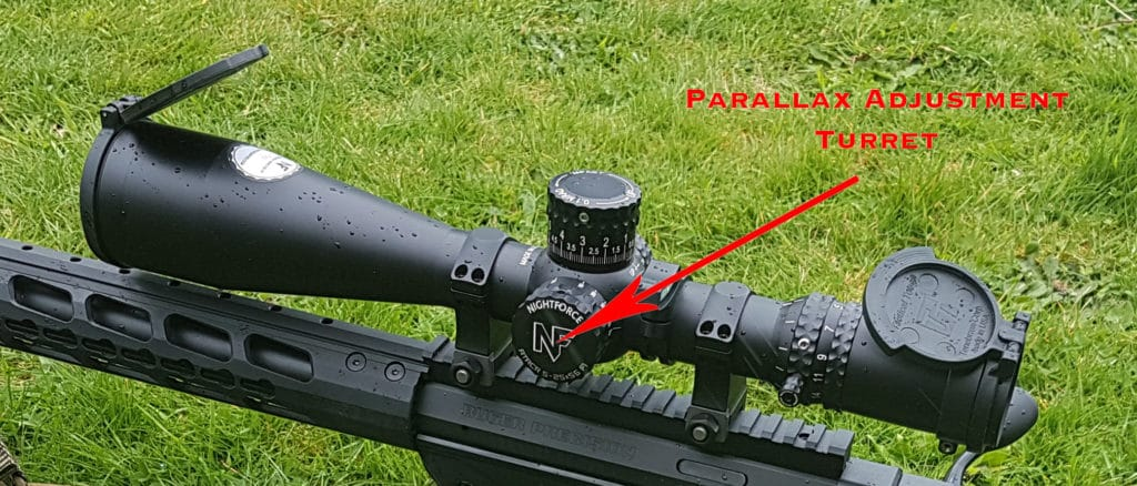 Image showing Parallax Adjustment Turret on Rifle Scope